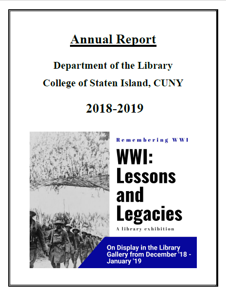 Annual Report 2019 Cover Page featuring promotional image from WW1 exhibit. Text reads: WW1, Lessons and Legacies: a library exhibition on display in the library gallery from December 2018 to January 2019.