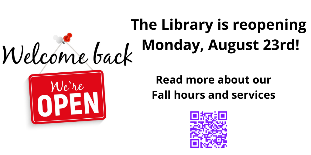 The Library reopens on Monday, August 23rd. Click slide or visit https://library.csi.cuny.edu/blog/reopening for hours and available services.