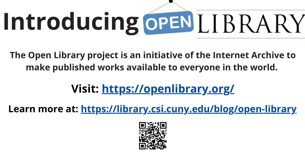 Introducing Open Library: the Open Library project is an initiative of the Internet Archive to make published works available to everyone in the world. Click this slide to learn more. Or, to visit the Open Library directly, go to openlibrary.org
