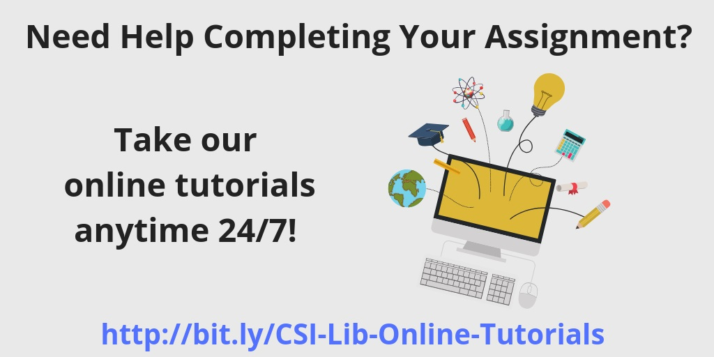 Click for more information on online Library tutorials.