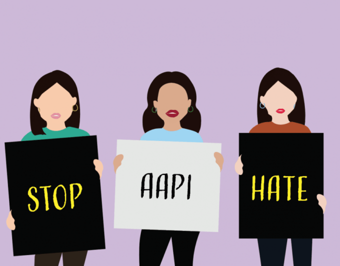 Graphic by Amber Chia: Digital sketch of 3 Asian women holding signs saying STOP, ASIAN, HATE