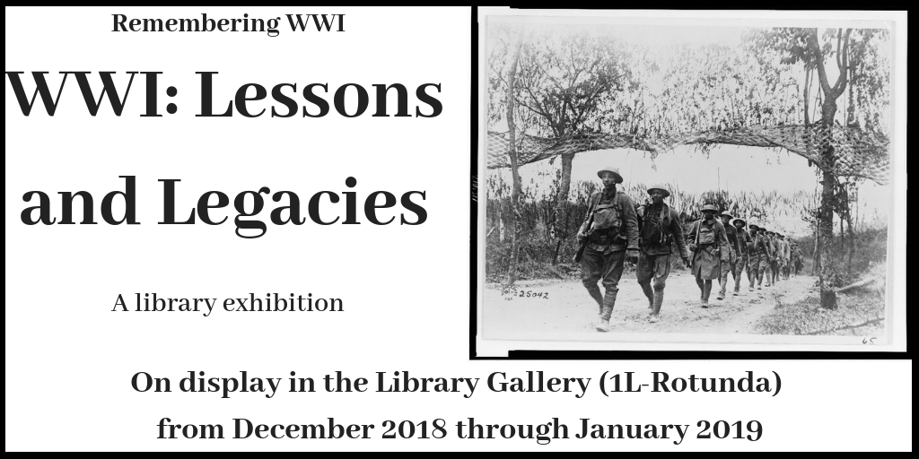 World War One Exhibit Now at the Library - Click for more info.