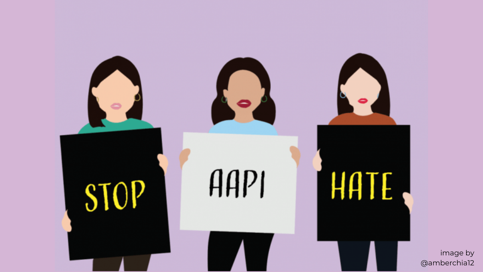 Digital sketch by Amber Chia of 3 Asian women holding signs that say
