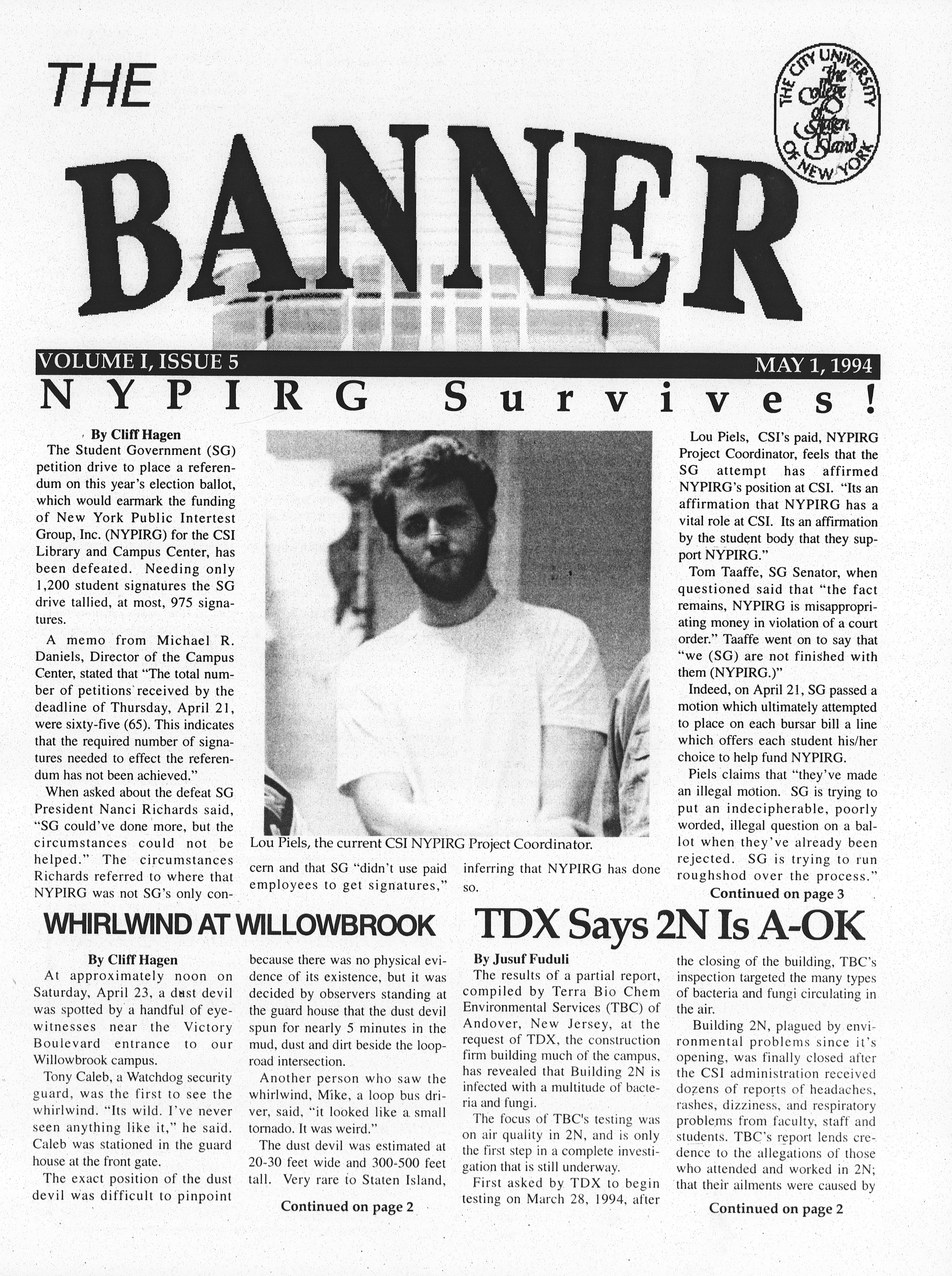 Cover image of the CSI student newspaper The Banner, Volume 1, Issue 5. Headline: NYPIRG Survives!