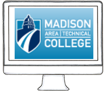 computer graphic with Madison Area Technical College screensaver