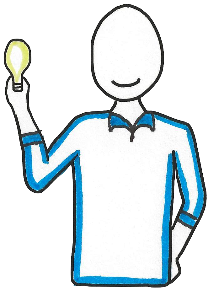 Figure holding lightbulb