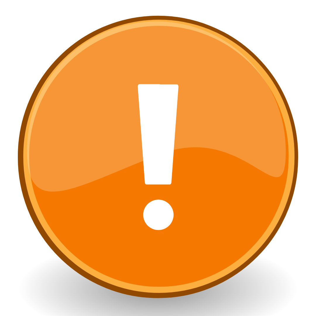 Orange circle with exclamation point in the middle