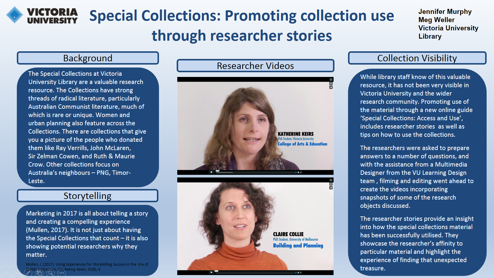 Poster promoting researcher stories located on Researcher tab