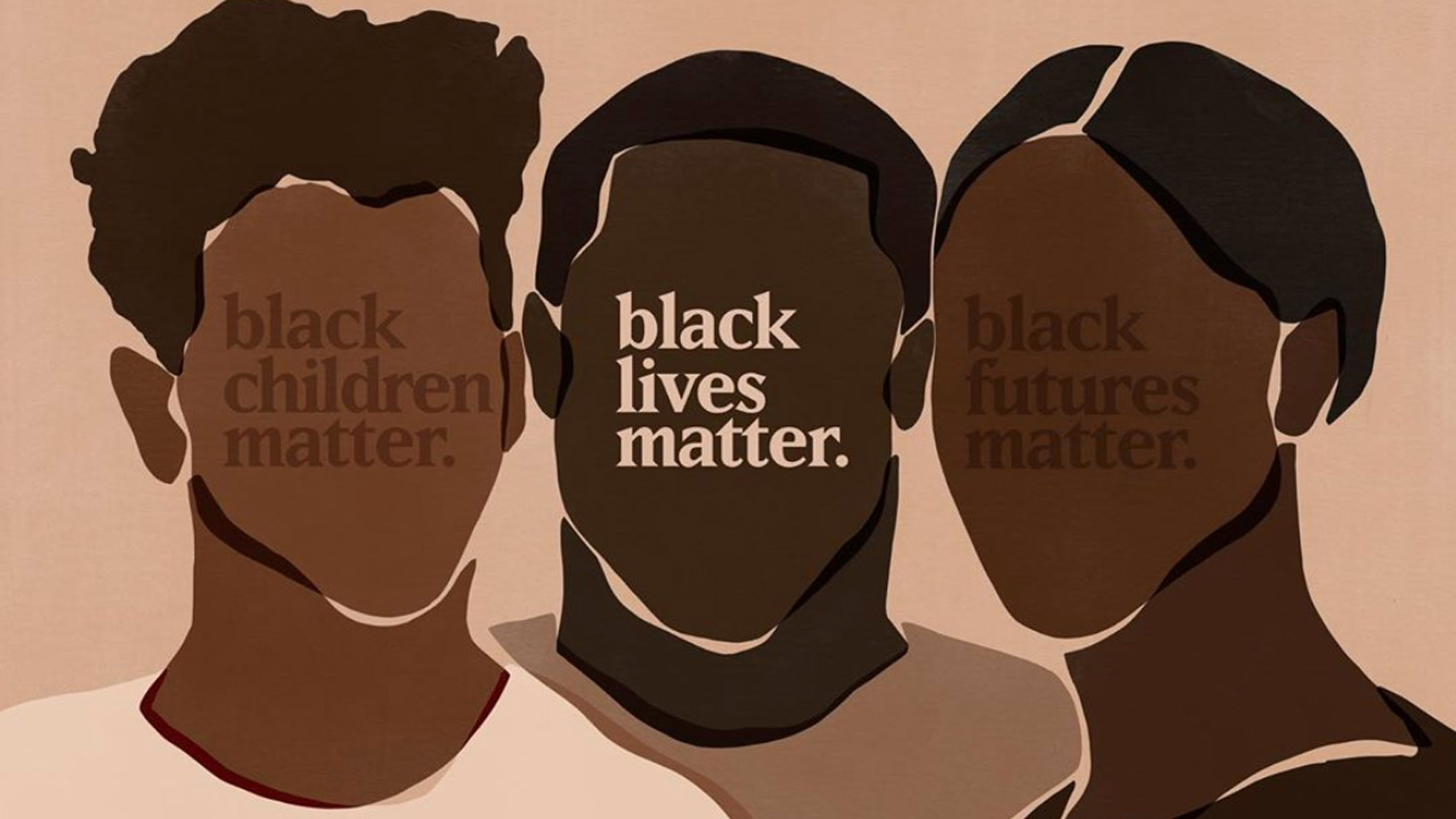 Illustration with three people and text overlay that says Black Lives Matter