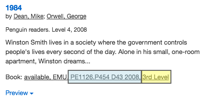 Esearch record for Orwell's 1984 with call number and location highlighted