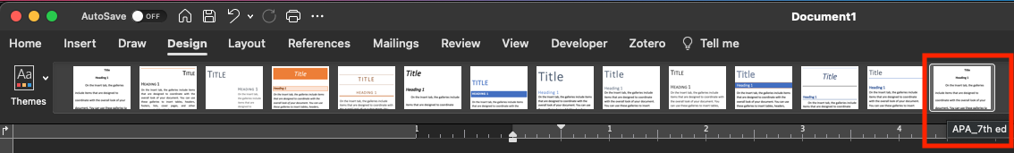 Design menu with saved style set selected.