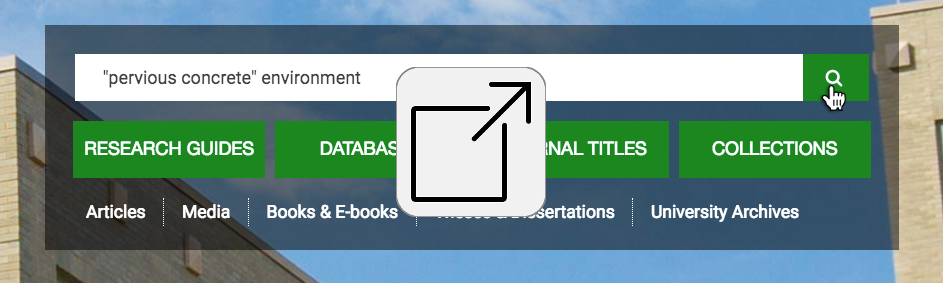Screenshot of library's main search area with external link logo.