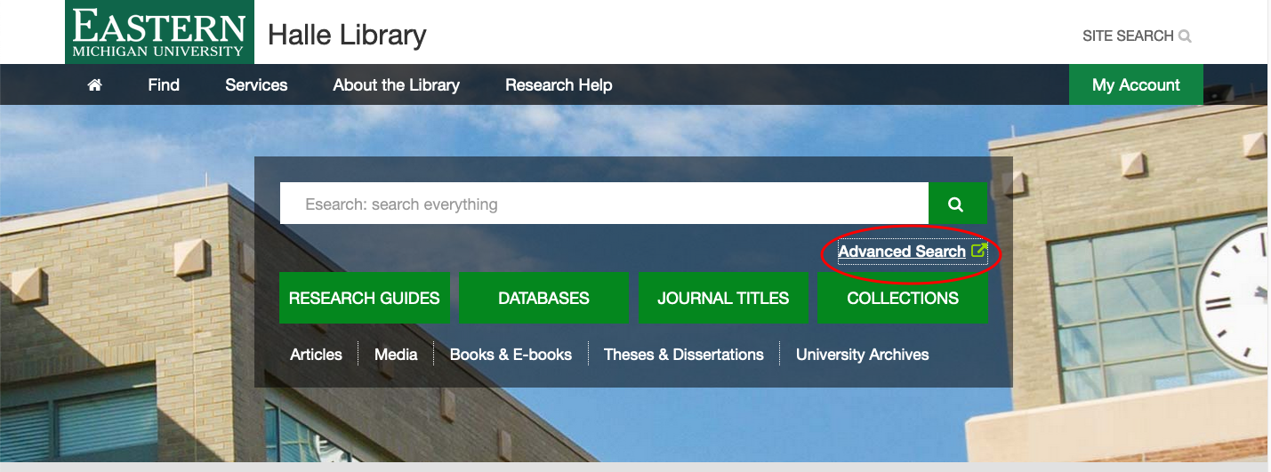"Screenshot of the library's homepage with the ""Advanced search"" option highlighted."