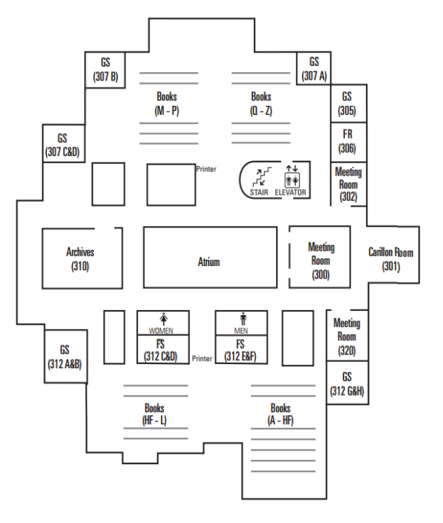 Map of the library's 3rd floor.