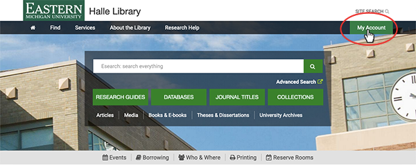 EMU Library homepage with My account button highlighted.