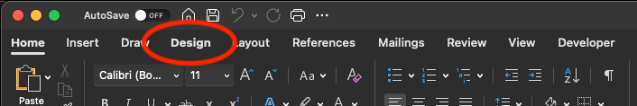 """Microsoft Word """"Design"""" menu item"""