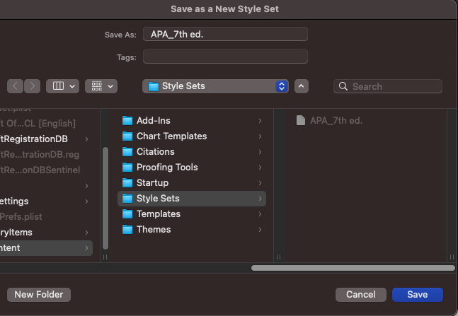 """""""Save as new style set"""" dialogue window."""