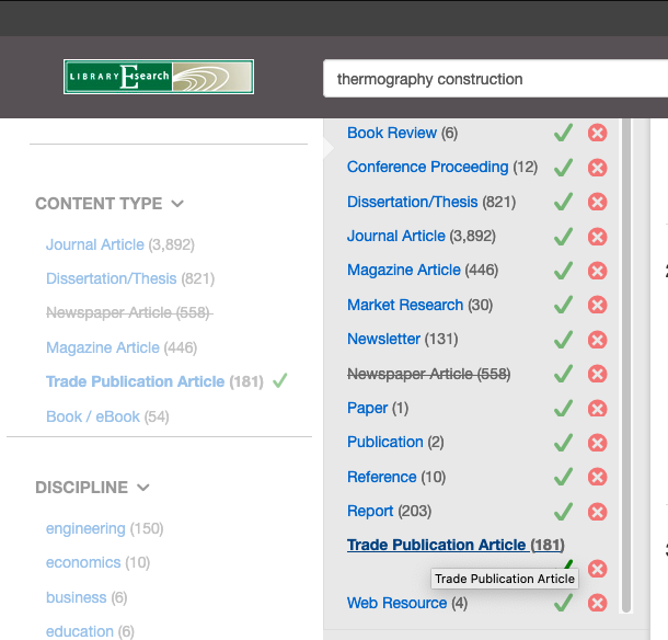 Screenshot of Esearch filters showing the Content, Trade Publication Article limiter.
