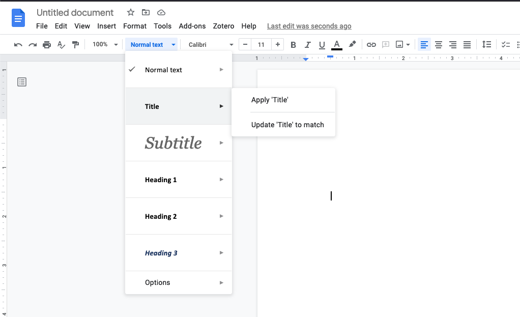 Google Doc with saved style in drop-down menu