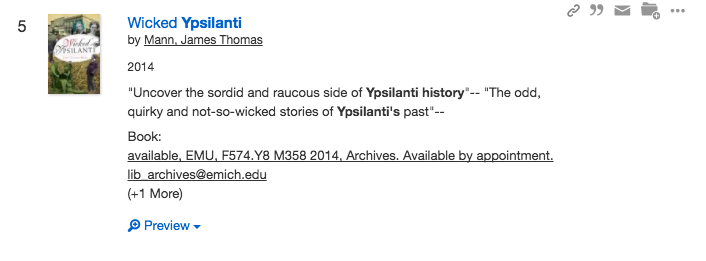 "Screenshot of detailed Esearch record for the book ""Wicked Ypsilanti."""