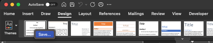 Word menu bar with style save dialogue window open.