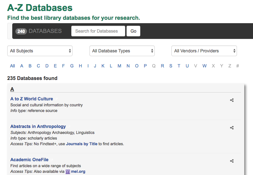 Screenshot of the A-Z Databases page, showing database titles and coverage notes.