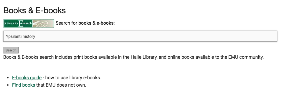 "Screenshot of the ""Books & E-books"" screen with the terms ""Ypsilanti history"" in the search box."