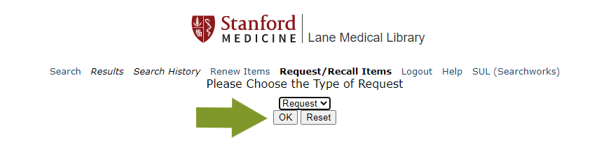 Select ok in the online catalog to make a request