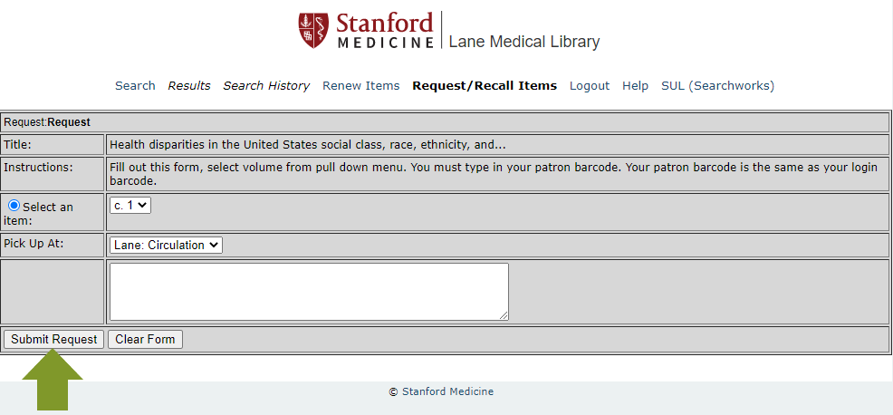 Screen to submit your request through the online catalog