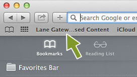 screenshot of Lane Gateway to Licensed Content in bookmark bar