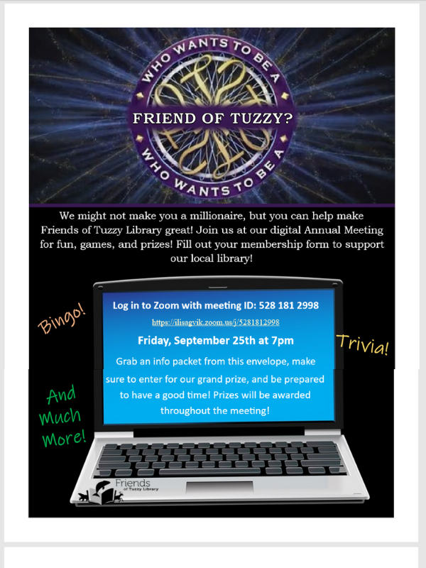 Friends of the Library member drive. Log in to Zoom September 25th at 7pm, 528 281 2998