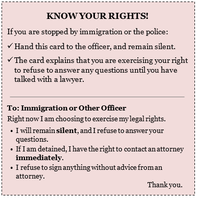 Know Your Rights Pocket Card!