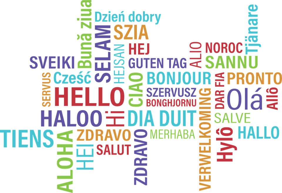 "The word ""hello"" displayed in multiple languages."