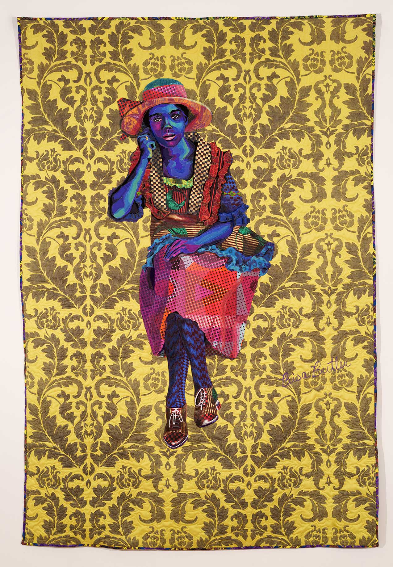 Quilt by fiber artist Bisa Butler, featuring a seated woman with her legs crossed on a background of yellow patterned fabric.
