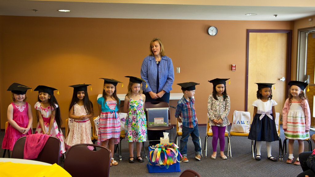 Class of preschoolers at their graduation.