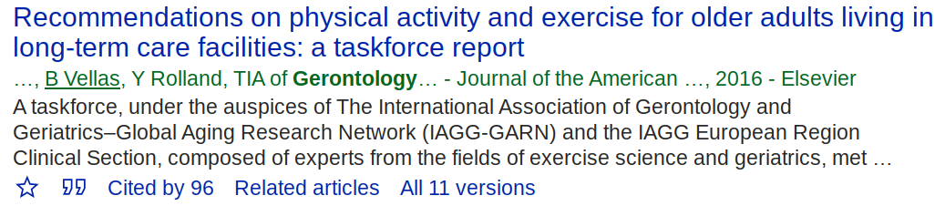 Google Scholar article result