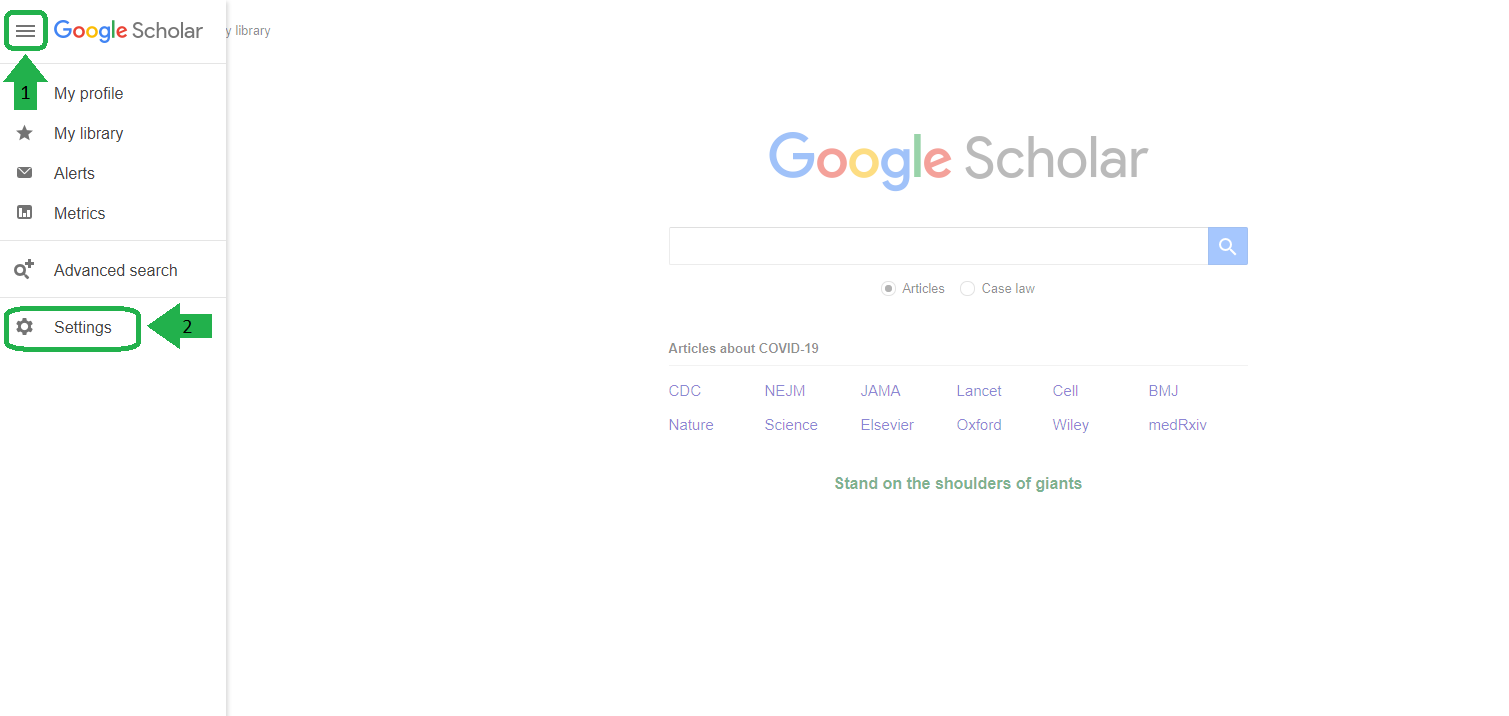 Screenshot with steps for entering Google Scholar settings: 1 Click on the menu bars in the top left corner. 2 Click on the Settings tab.