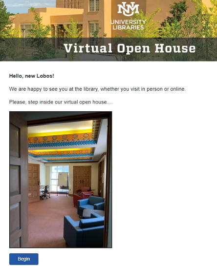Screenshot of Virtual Open House welcome page
