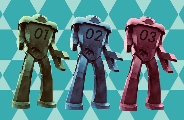 Illustration of three robots identical except for colors: green, blue, red