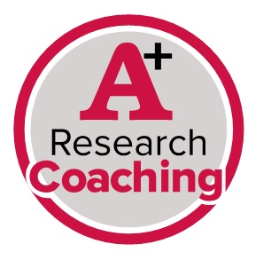 Round red circle reading A+ research coaching