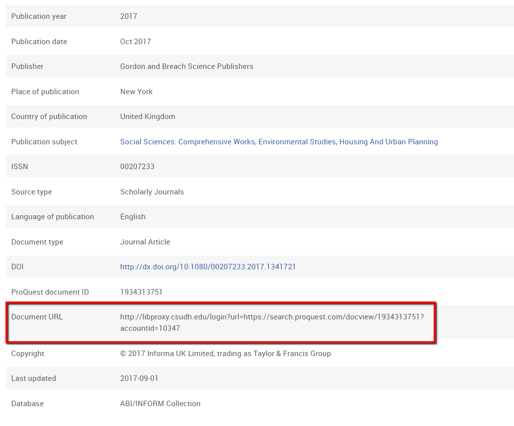 ProQuest article with Document URL metadata section highlighted.