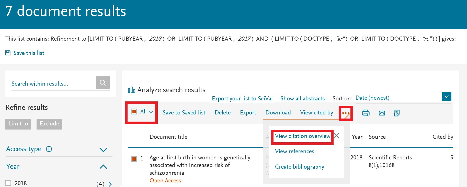 Viewing overall citations with filtered results