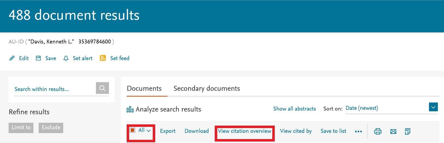 Filtering for Citation Overview