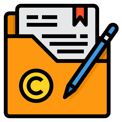 files in a folder with copyright symbol