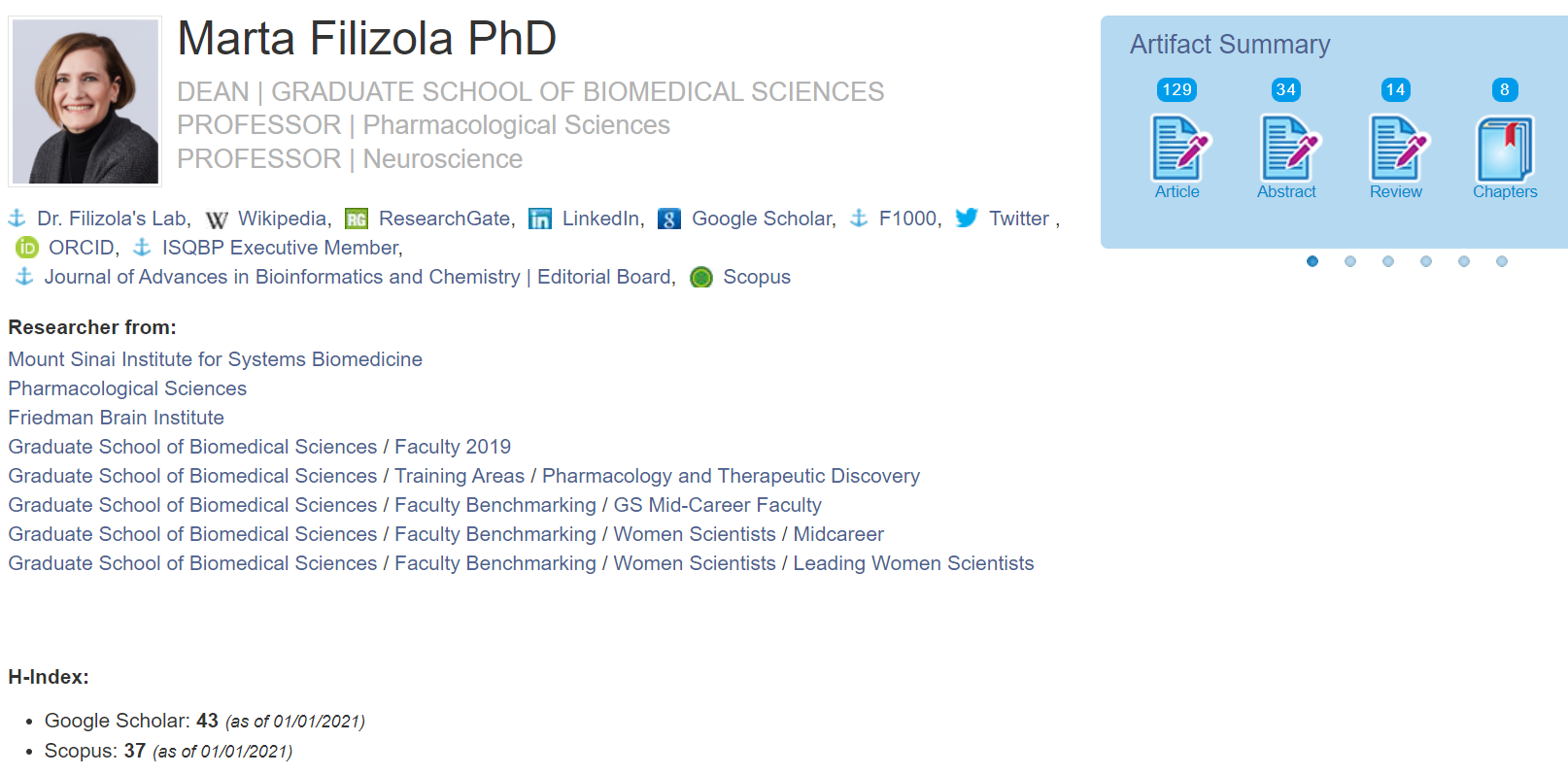 Example of a PlumX profile: Marta Filizola, showing departments, h-index, research artifact counts, and links