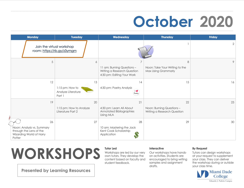 Calendar of Workshops for October Flyer