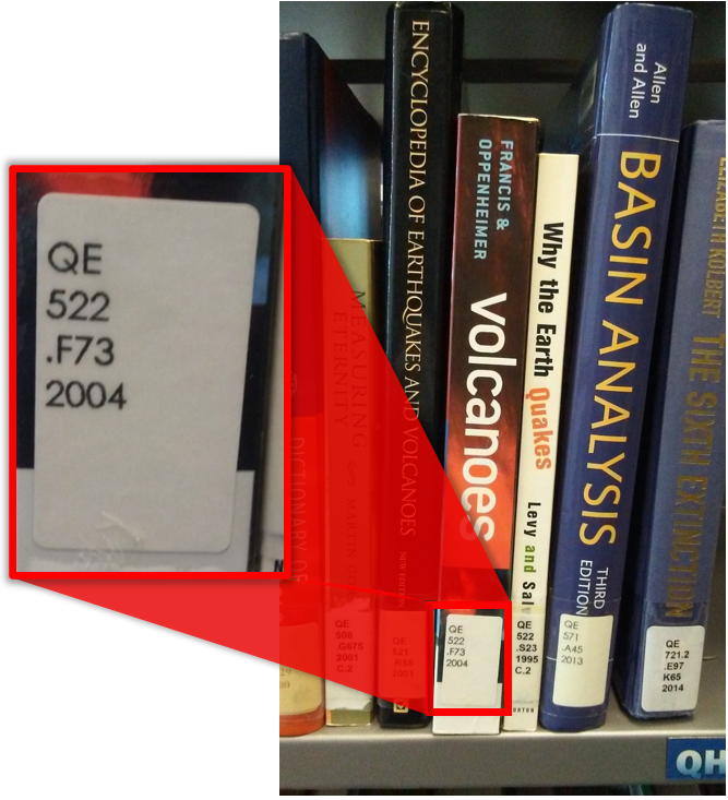 The call number is on the bottom of the book's spine.