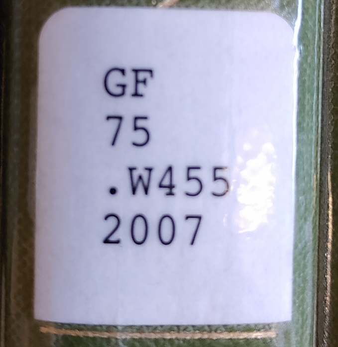 Example of Call number on a Spine Label