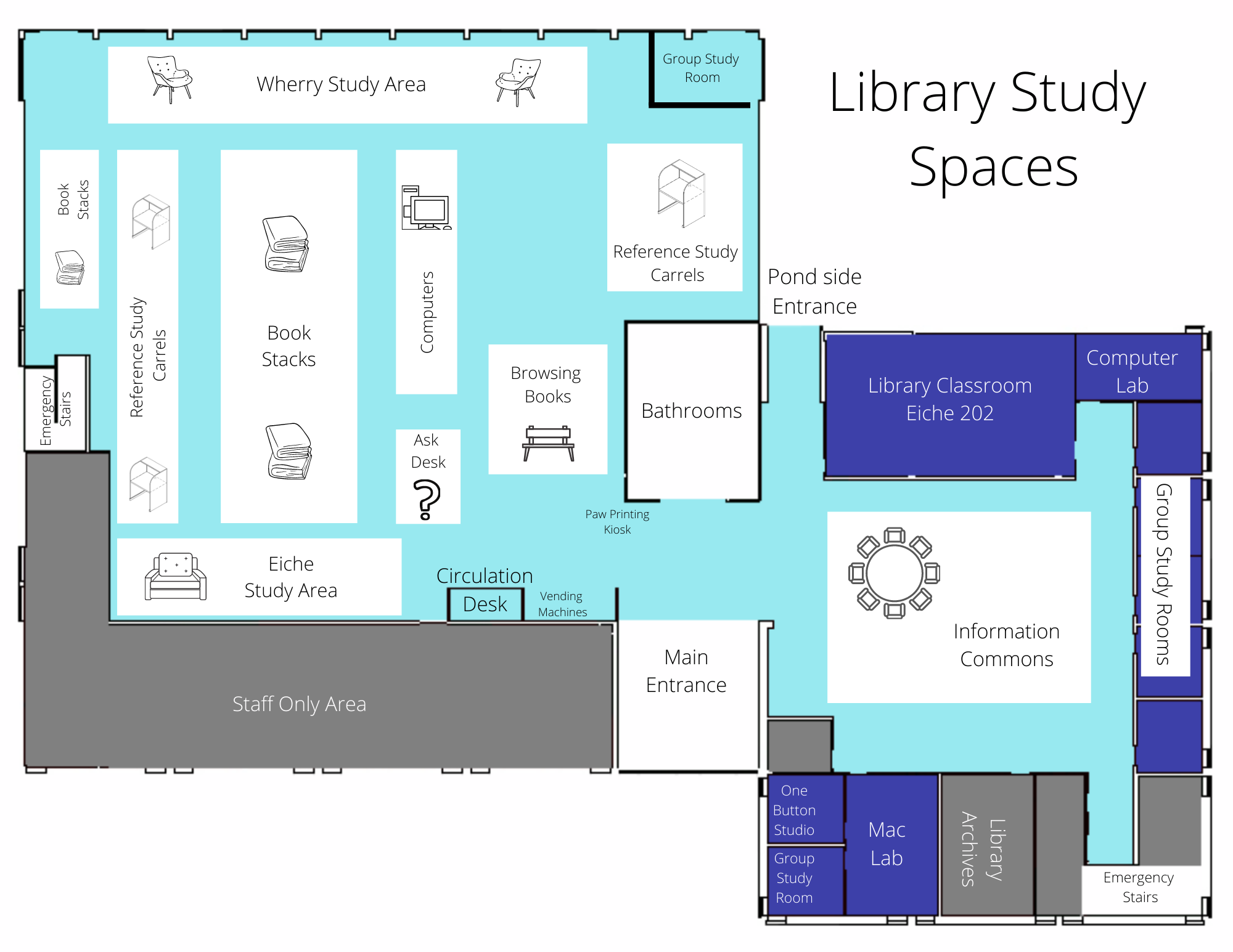 map of the study spaces in Eiche Library