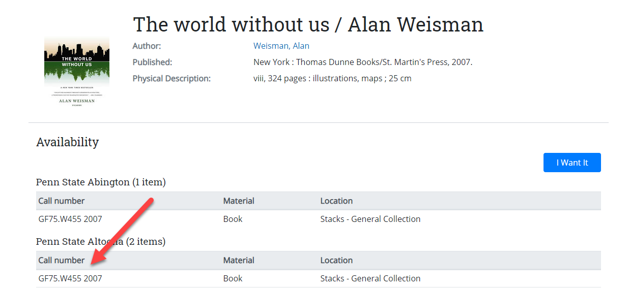 Example of catalog record of The World Without us by Alan Weisman
